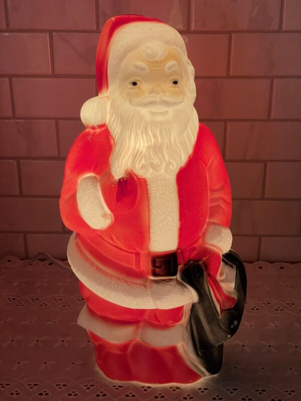 Vintage Empire 1968 Blow Mold Christmas Santa Claus Light Up Table Top Decor
