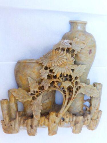"Chinese Vintage Soapstone Carved Statue Figurine Vase, 7.25"""