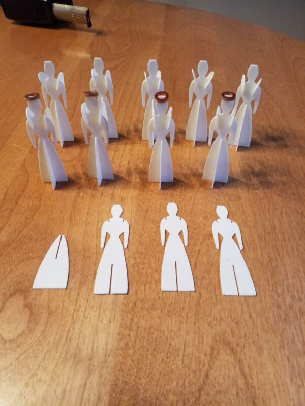 Unusual 3-D Set of Christmas Figure Angels 1940