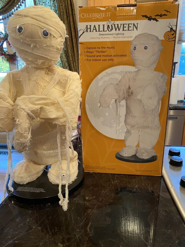"""MOTION ACTIVATED DANCING MUMMY PLAYS  """" THRILLER """" 2 FEET TALL NEW IN BOX RARE"""