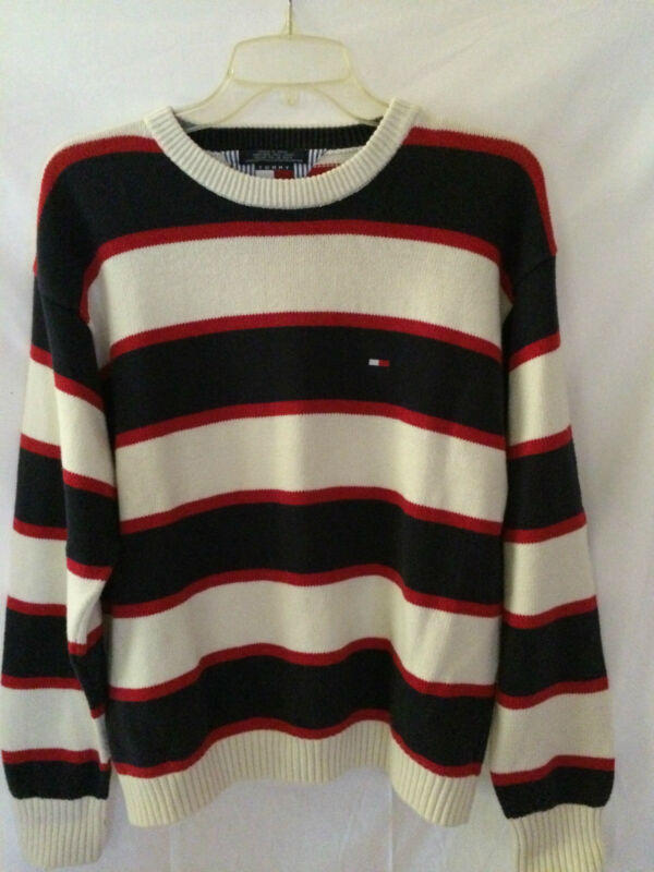 Tommy Hilfiger XL Men's 100% Cotton Striped Sweater EUC FREE SHIPPING