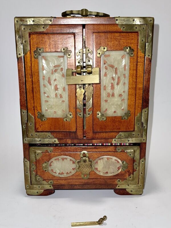 Stunning Vintage Oriental Jewelry Box/Chest With Brass and Ornate Carved Jade