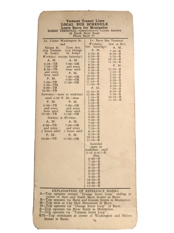 1946 Vermont Transit Lines Local Bus schedule Barre For Montpelier