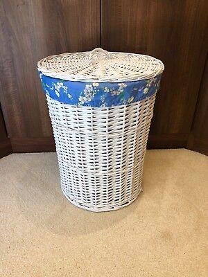 Doppel-weidenkorb (Rund Weiß Doppel Weidenkorb mit Deckel Entfernbarer Blau Blumen Futter)