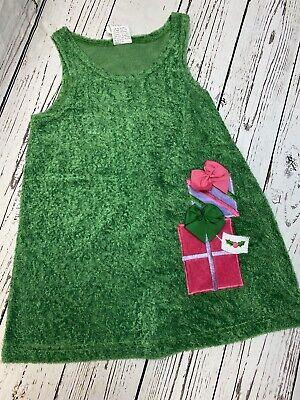 Girls dress Christmas Jumper Size 6 Green Presents