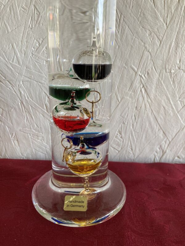 """13"""" Galileo Glass Thermometer~ Floating Balls"""