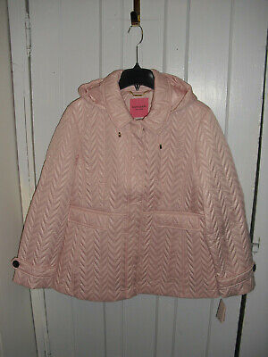 Kate Spade New York Blush Quilted Hooded Packable Moto Puffer Jacket XL NWT $248
