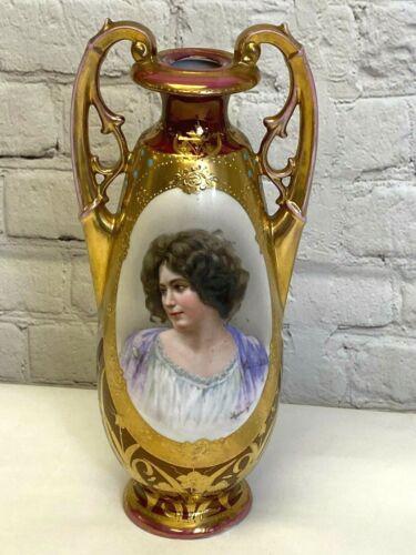 """Antique Royal Vienna Porcelain Portrait Vase Artist Signed E. Vettori ~ 10.5"""""""