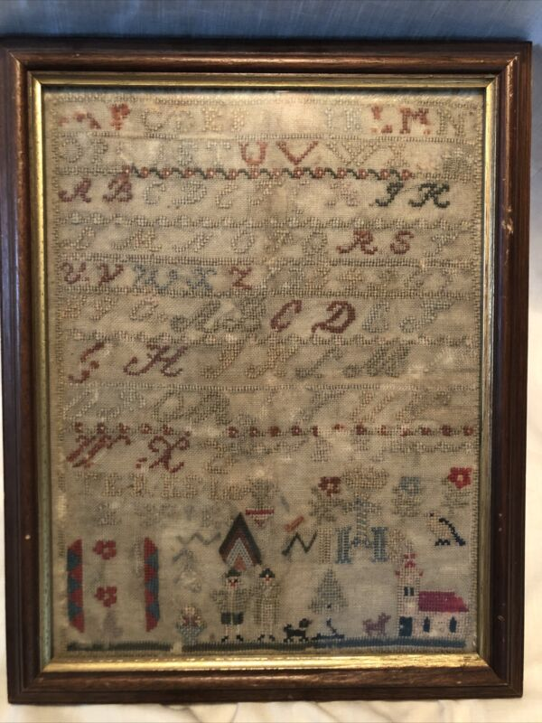 1800s English Schoolgirl Sampler Embroidery ABCs, Symbols, Motifs Etc.