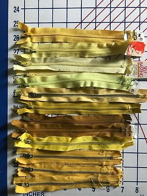 "Vintage New Old Stock Polyester Metal Zippers Sewing Yellow 6 - 7"""" Lot of 13"