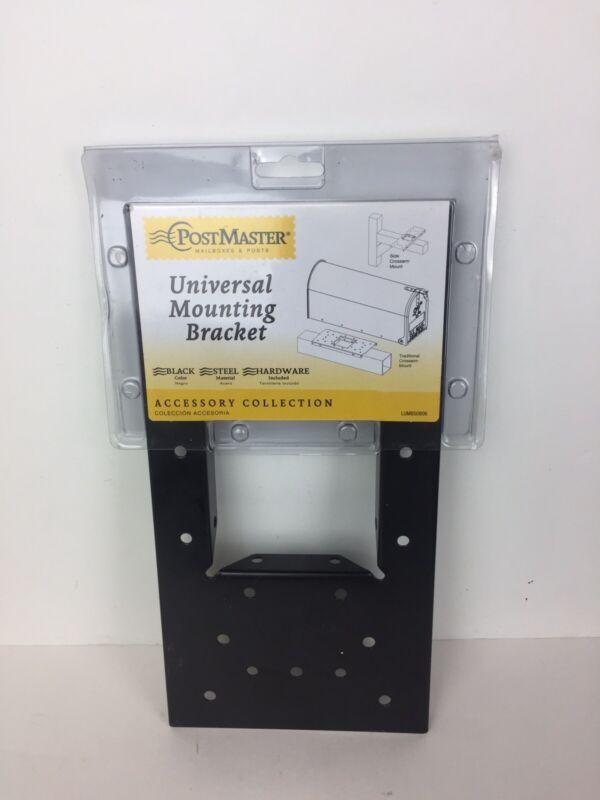 "Postmaster Universal Steel Mailbox Mounting Board Bracket Black 0.6 x 6 x 11.75"""