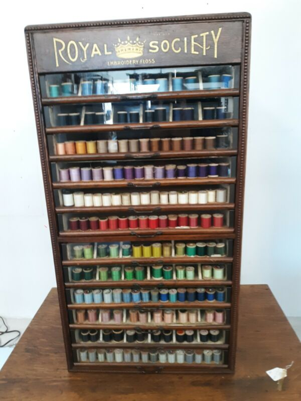 Antique Vintage Royal Society Thread Floss Spool Cabinet w/ Original Tag