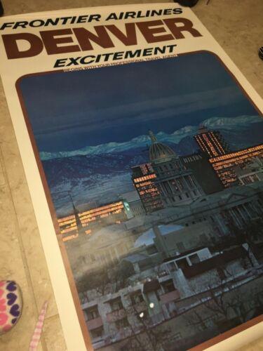 Frontier Airlines 1975 Denver travel poster