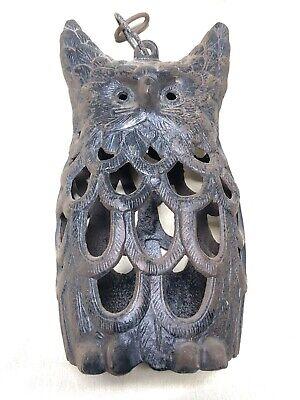 True Vintage OWL LAMP Garden Halloween Cast Iron Hanging Garden Patio Muggles