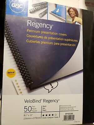 New Gbc Velobind Regency 50-pack Black 8.5x11 Presentation Covers 9742230