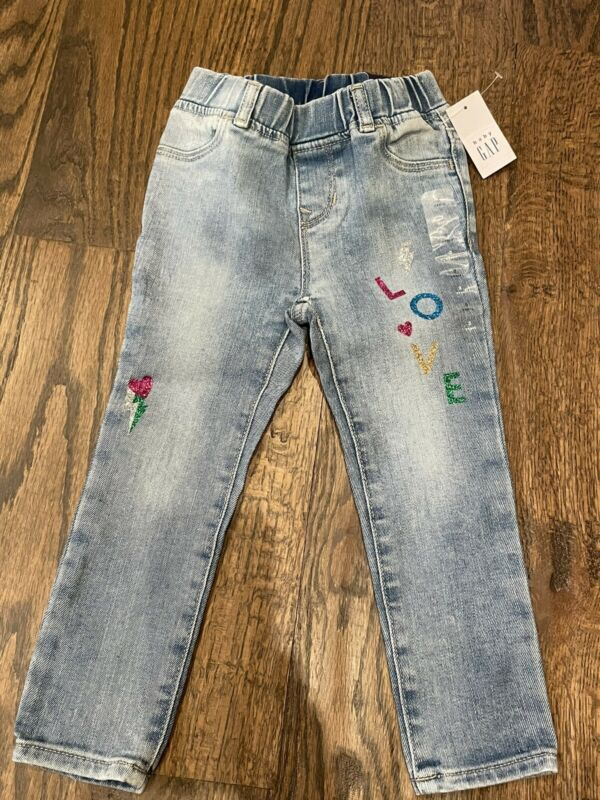 NWT Baby Gap Girl love heart high stretch jean jeggings pants size 3 3T