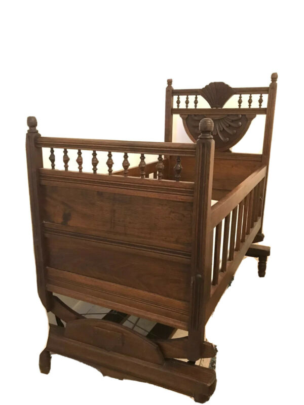 Antique Victorian Wood Bassinet  1800s