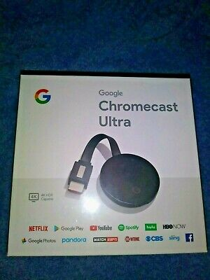 Google Chromecast Ultra 4K HDR Video Streaming Device GA3A00403A14 New