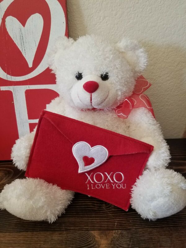"""Valentines Plush Teddy Bear with Love Letter holder White  Red Carlton Cards 14"""""""