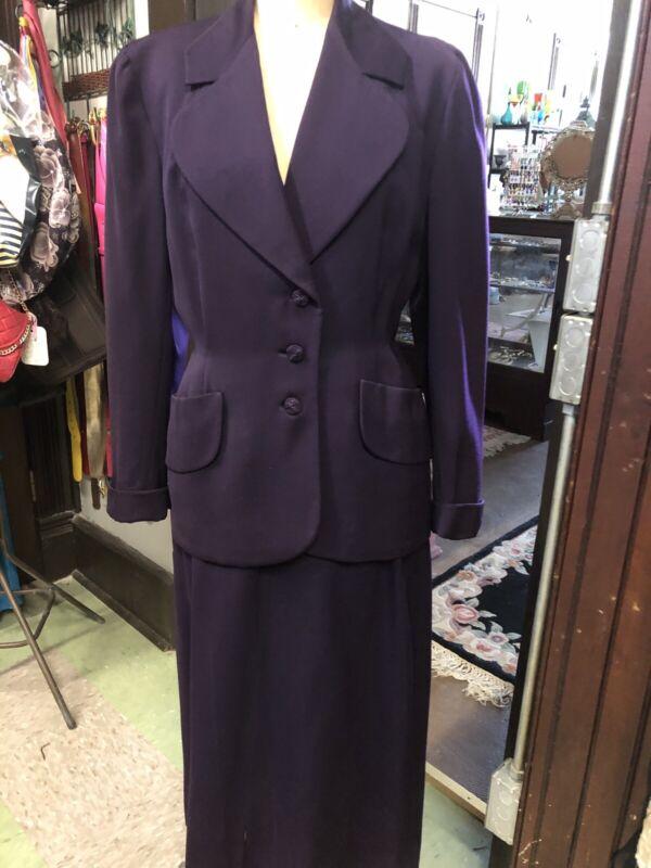 1940s Vintage Deep Purple GABARDINE SUIT Two Piece WWII Era Skirt Jacket