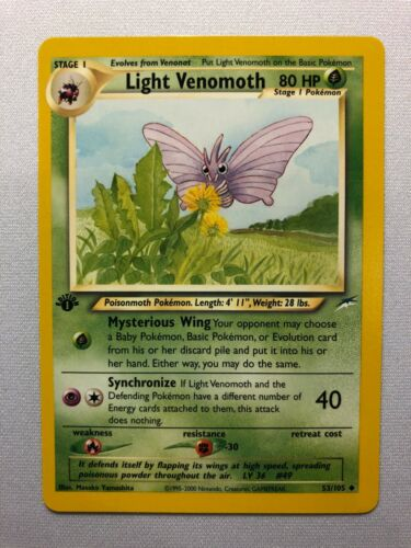 LIGHT VENOMOTH 53//105 Neo Destiny Pokemon Card   NM