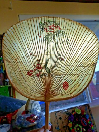 Vintage Antique Uchiwa Bamboo Cherry Blossom Bird Paper Fan Signed
