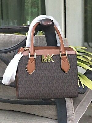 MICHAEL KORS MOTT MEDIUM MESSENGER CROSSBODY SATCHEL BAG MK BROWN SIGNATURE $398