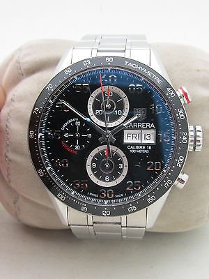 TAG HEUER CARRERA CV2A10 MENS BLACK DIAL AUTOMATIC CHRONO STAINLESS STEEL WATCH