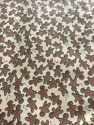 Christmas Fabric, Tan Background, Gingerbread Men, 2 Yards. #2