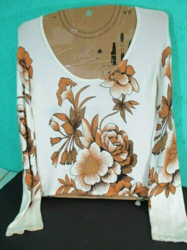 Michelle Nicole Vintage Made in Hong Kong Beaded Long Sleeve Floral Top Blouse