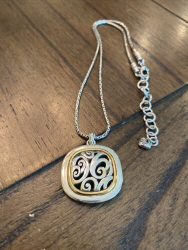 Brighton SPIN MASTER Silver Gold Reversible Necklace - $17.45