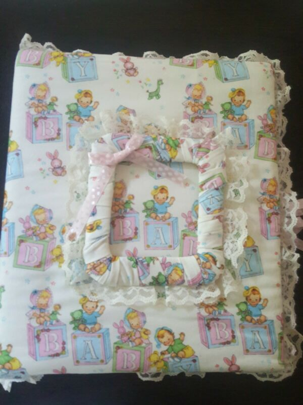 Vintage Blocks baby girl boy Fabric Quilted Baby Photo Album Scrapbook New RaRe