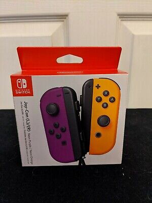 Nintendo Switch Neon Yellow and Purple Joy-Cons with Wrist Strap**New**