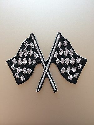 Checkered Flag Patch - Iron On - Car Auto Race Racing Finish Line Embroidered ()