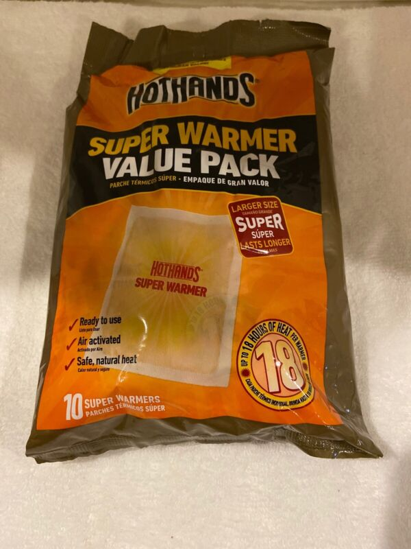 Hot Hands Super Warmer Value 10 Pack Super Warmers. 18 Hours Of Heat. Exp 6/2023