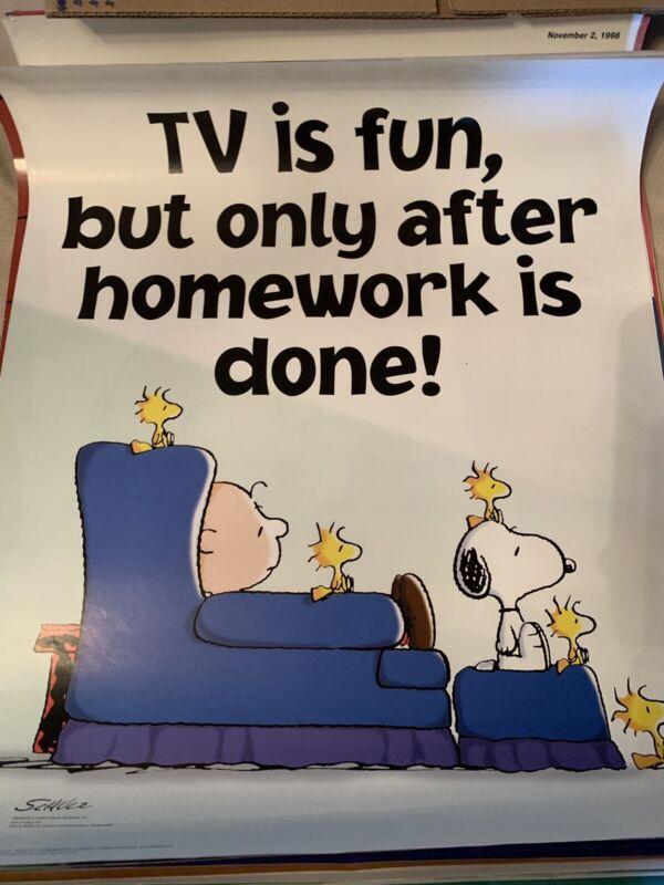 Peanuts Snoopy Super Rare 17x22 Poster TV Is Fun