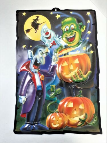 Vintage Halloween Monsters 3D Molded Vacuform Plastic Wall Decoration Art House