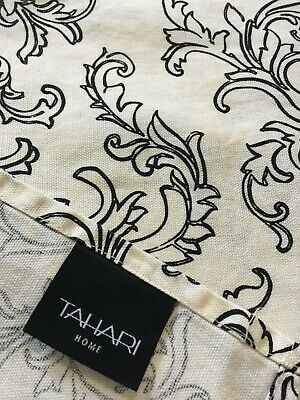 Black Fabric Tablecloth (Tahari Fabric Tablecloth Black Scroll on Ivory 60 x 114 100% Cotton)