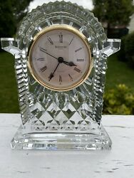 Waterford Crystal Mantel or Shelf Clock Lismore Pattern. Large 7x5.5 Inches.