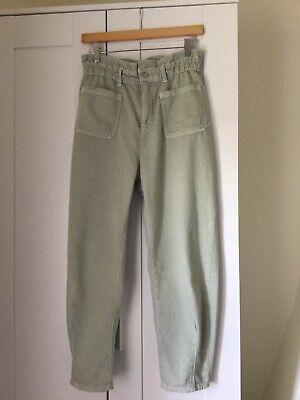 Zara Paperbag Sea Green Jeans Size 10