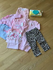 10 piece Baby Girl Clothing Lot + Pampers Wipes!