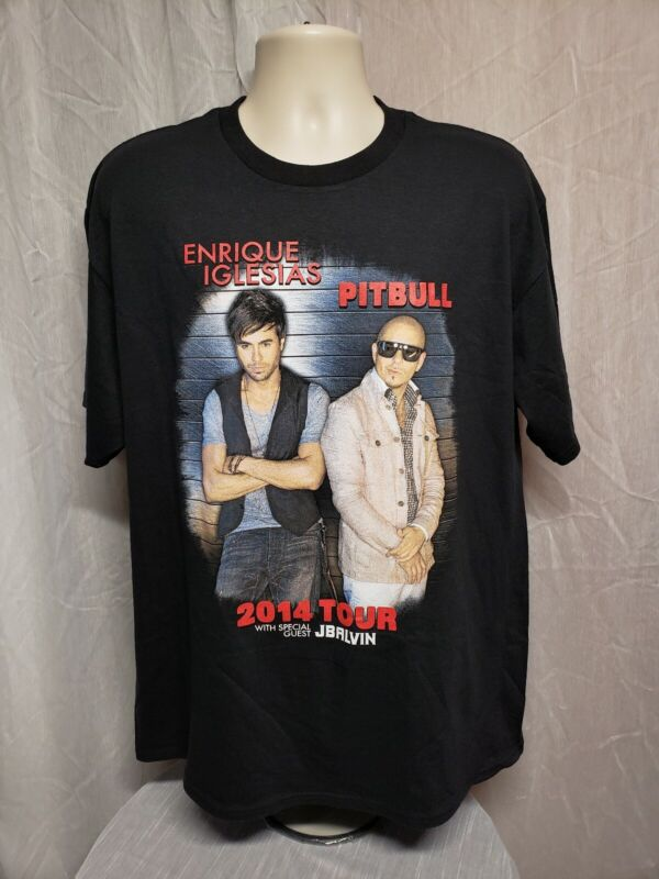 2014 Enrique Iglesias and Pitbull Tour Adult Black XL TShirt