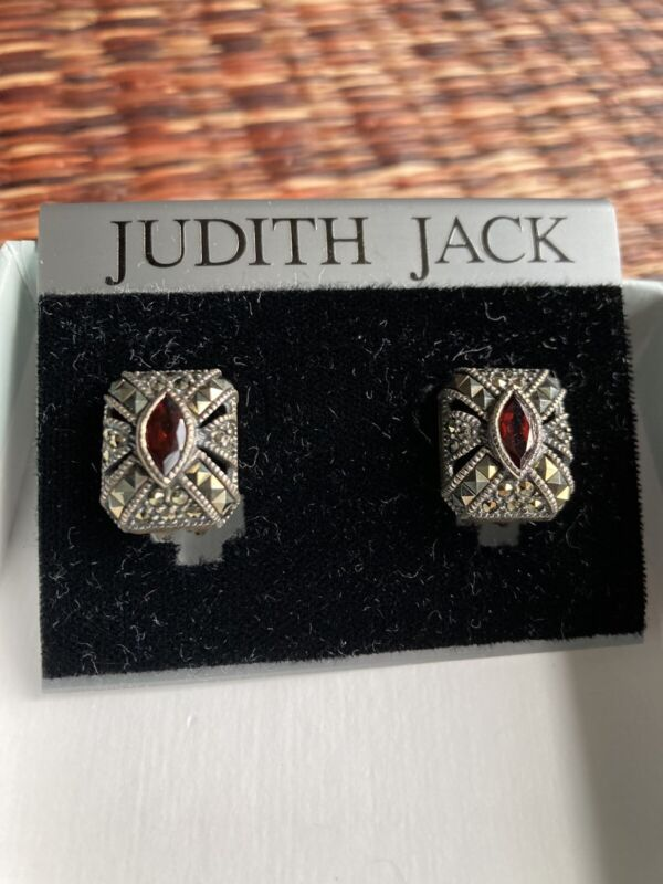 SIGNED JUDITH JACK STERLING SILVER MARCASITE With Red Stone CLIP ON EARRINGS