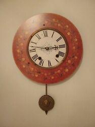 13 Lg. Pendulum Wall Clock Time Works Berkley, California French Ctry Red 14P