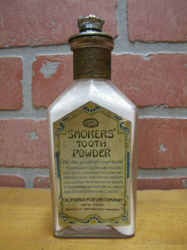 Antique SMOKERS TOOTH POWDER Glass Bottle Crown Top California Perfume Company