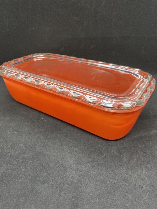Vintage Jeanette Glass Refrigerator Dish RARE Ruffled edge lid Depression Glass