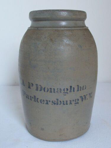 Antique Stone Ware Jar for Canning A P Donaghho  Parkersburg W.V.