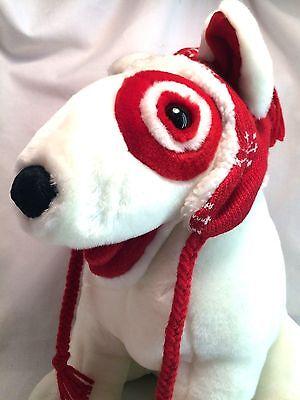"Puppy Target Dog White Red Bullseye Bull Terrier Holiday Big 13"" Stuffed Plush"