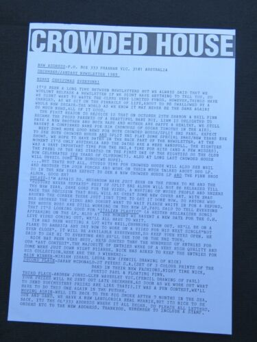 Crowded House Newsletter 1989 Rock Band Aussie Australia