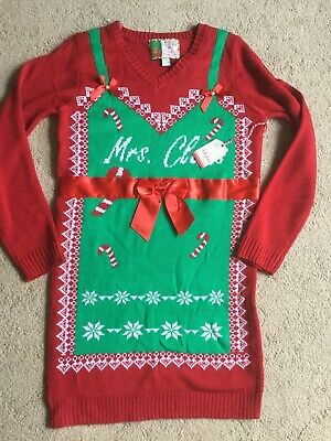 NEW! Merry Christmas Ugly Sweater Dress Candy Canes Mrs Claus Bows Holiday Tacky ()